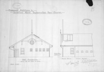 Hornibrook, G. W :Proposed plan of additions. Isolation ward, Tauherenikau Race Course. End elevation. Proposed addition. Office of Director of Camp and Barrack Construction. 15 June 1916. [Drawn by] G. W. Hornibrook. A. O. Brett, R. Q. M..S., Foreman of Works. Scale 1/4 inch.