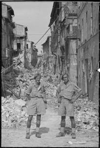 New Zealand soldiers in Pesaro, Italy, during World War 2