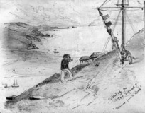 Hodgkins, William Mathew, 1833-1898 :Sketch for 'The signal'. 'Steamer from the north'. [1870s?]