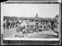World War 1 Maori soldiers performing a haka, Egypt - Photograph taken by J M