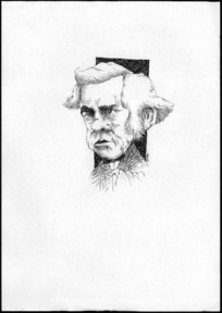 Winter, Mark, 1958- :Caricature of Henry Sewell, 1807-1879, drawn April 2003.