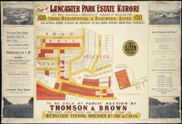 Plan of Lancaster Park Estate, Karori [cartographic material] : the most beautiful & progressive suburb of Wellington : 100 ideal residential & business sites.