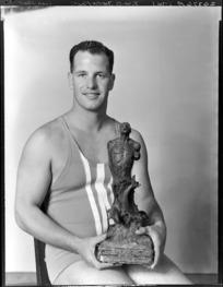 Surf Life Saver, Mr J W B Davenport, [Worser Bay Club?], Wellington, winner of the Cook Strait trophy