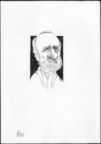 Winter, Mark, 1958- :Caricature of Daniel Pollen, 1813-1896, drawn April 2003.