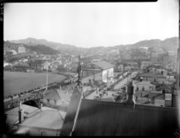 View of Basin Reserve, Wellington, from the North for MCC [Melbourne Cricket Club] vs Wellington match