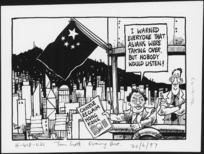 """Scott, Tom, 1947- :Chinese reclaim Hong Kong. """"I warned everyone that Asians were taking over, but nobody would listen!"""". [Evening post, 30 June 1997]."""