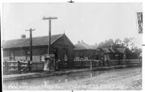 Gilling, Ernest, fl 1908-1912 :Public buildings, Tolaga Bay. Prot[ecte]d. 5 00. [Photograph by] E Gilling. New Zealand post card [ca 1909]