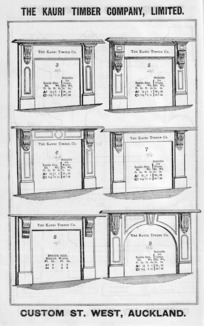 The Kauri Timber Company Ltd (Auckland Office) :[Mantelpieces, models 3,5,6,7,8,9. Catalogue page. ca 1906].