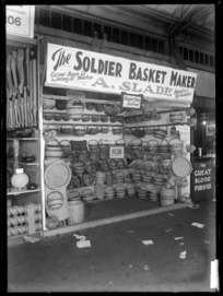 A stand at a trade fair in 1930, advertising A. Slade, The Soldier Basket Maker, of Auckland.