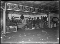 A stand at a trade fair in 1930, advertising products from Taumarunui
