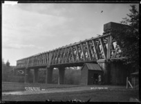Railway Bridge over the Waikato River at Ngaruawahia, 1910 - Photograph taken by G & C Ltd