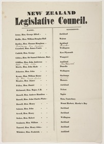 New Zealand Legislative Council. Name; Residence [List. 1862]