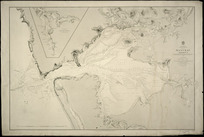 Manukau Harbour [cartographic material] / surveyed by Commander B. Drury ... [et al.], 1853 ; drawn by Edward J. Powell ; engraved by J.& C. Walker.