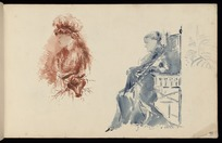 Hodgkins, Frances Mary 1869-1947 :[Woman in chair. Woman wearing bonnet. 1887]