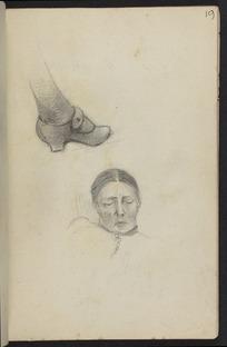 Hodgkins, Frances Mary 1869-1947 :[Study of shoe. Woman sleeping. ca 1890]