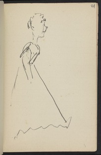 Hodgkins, Frances Mary 1869-1947 :[Woman stepping forward. ca 1890]