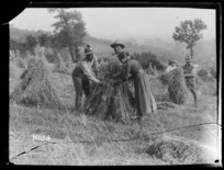 World War I Maori Soldiers assist with the harvest whilst in rest billets