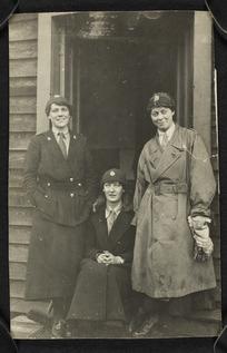 Three unidentified women in uniform, possibly at Brockenhurst, England, during World War One