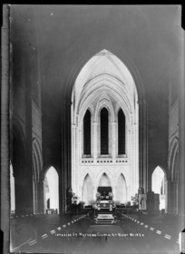 Interior of St Matthew's Church, Auckland at night