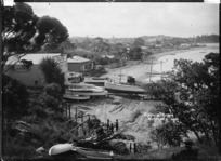 Boatshed and slipway at Sulphur Beach, Northcote, Auckland