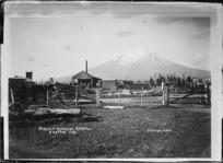 Awatuna, showing Parkes & Brookers Sawmill, and Mt Taranaki behind - Photograph taken by David Duncan