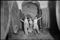 New Zealand soldiers with wine casks in a cellar, near San Casciano, Italy - Photograph taken by George Frederick Kaye