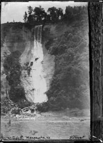 View of a waterfall near Mangaweka - Photograph taken by Frank Stewart