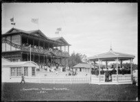 View of the grandstand and band rotunda at the Wanganui Racecourse