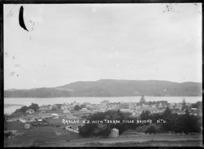 Panoramic view of Raglan, with the Te Akau Hills beyond