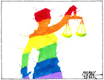 A rainbow statue of Lady Justice - convictions for homosexuality expunged