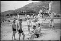 New Zealand soldiers in swimming costumes at the Divisional Cavalry rest area in Trieste, Italy, at the end of World War 2 - Photograph taken by George Kaye