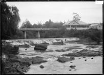 The falls and bridge at Warkworth