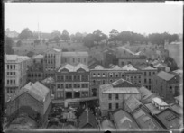 Lorne Street, Auckland, with Albert Park in the background