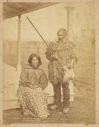 Burton Brothers, 1868-1898 (Firm, Dunedin) :Whaaru and his wife at Wahanui's house, Alexandra