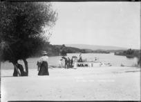 Ferry and sightseers at Okere on Lake Rotoiti