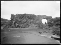 Blowhole arch at Mussel Rock (Te Kaha Point) north of Raglan - Photograph taken by Gilmour Brothers