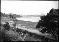Northcote Wharf from Hall's Beach, Auckland