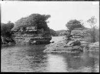 Ruatuna Rocks in the vicinity of Raglan, 1910 - Photograph taken by Gilmour Brothers