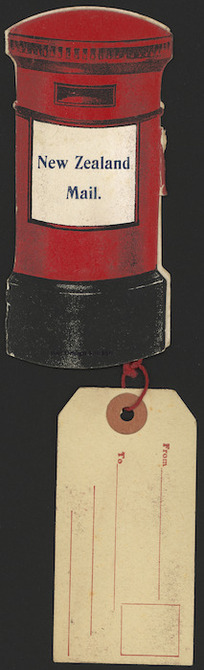 Artist unknown :New Zealand mail [Cover of coloured shaped pillar box novelty card, with address label tied on. ca 1910].