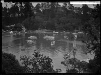 Boats in Mansion House Bay, Kawau Island - Photograph taken by W T Matthews