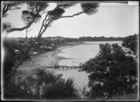 Sulphur Beach, Northcote, Auckland. View along beach settlement