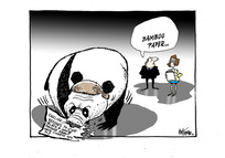 Bill English as a panda bear eating a news headline about his refusal to answer queries about National List MP Jian Yang
