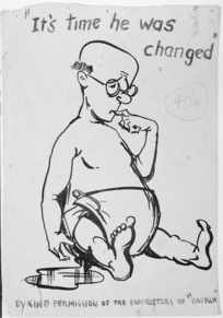 """Ambrose, W :""""It's time he was changed""""...by kind permission of the proprietors of """"Paunch"""". [Auckland; Craccum, 1955]"""