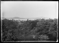 View from Bishop's Court, Parnell, Auckland, including garden, Waitemata Harbour and Devonport