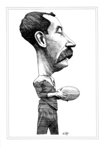Webb, Murray, 1947- :[Caricature of Dave Gallaher. 1990].