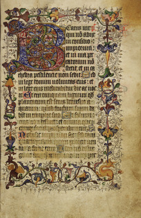 "Decorated initial ""B"", and border (Beatus vir)"