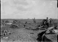 The New Zealand batteries firing at Germans near Mailly-Maillet, France