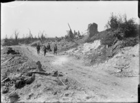 Soldiers walking along the main road to Puisieux