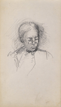[Hodgkins, Frances Mary] 1869-1947 :[Portrait sketch of woman in spectacles].