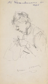 [Hodgkins, Frances Mary] 1869-1947 :Sissie sewing; at Ravensbourne in 1885. 1885.